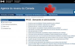 Prestation fiscale canadienne pour enfants (PFCE) sur le site de l'Agence du revenu du Canada.