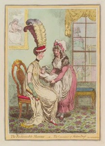 La maman à la mode ou La commodité des robes modernes, James Gillray (1796)